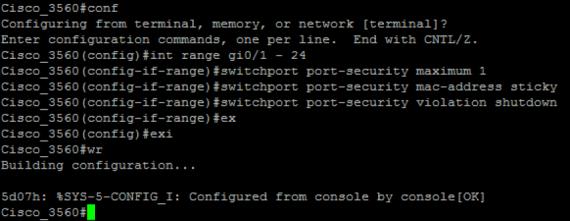فعال کردن Port Security در سوئیچهای سیسکو